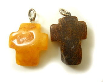 Hand Carved Amber Baltic CROSS - Yellow milky and Cherry - size L +  1pcs or Pair