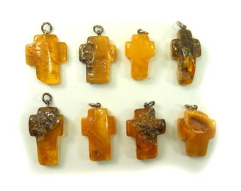 Hand Carved Amber Baltic CROSS - Yellow - Honey - Cognac - Black - size XXL - 8pcs available