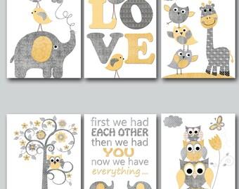 Yellow Grey Canvas Print Baby Boy Nursery Quotes Baby Nursery Decor Nursery Art Kids Room Decor Nursery Wall Art Kids Wall Art set of 6
