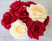 5 roses paper roses bouquet paper flower big roses cream wedding roses bridal roses wedding paper roses red big rose flowers decoration rose