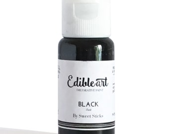 Black 15ml- Edible Art Paint by Sweet Sticks for cake, cookie & confectionery decorating