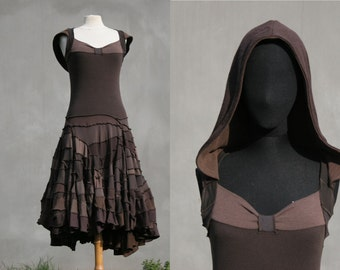 Sale, Size L, Brown hooded dress chaos, upcycled t-shirts, eco friendly design, hippie dress, sculpture dress, solmode