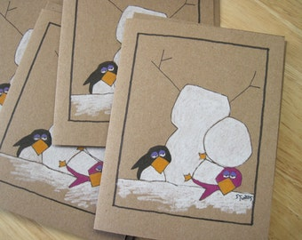 The Penguins And The Snowman -- Winter Note Cards -- Brown Paper  (#WTR001)