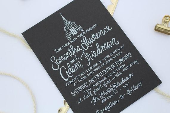 Custom Illustrated Wedding Invitation / New York