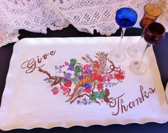 Hand Painted Thanksgiving Serving Tray, Cornucopia with Fall Flowers, GIVE THANKS Greeting, Painted Aluminum, Holiday Decor, Serving Platter
