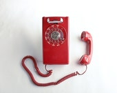 Vintage rotary wall phone – red rotary phone Bell System – rotary telephone