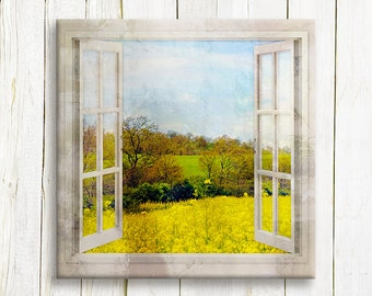Mustard fields window view art printed on canvas - travel art - Tuscany wall decor - housewarming gift