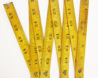 Vintage German Wood Measuring Ruler - 'Germany' Wood 4' Folding Measuring Ruler - Vintage 4 Ft Folding Wood With Detailing