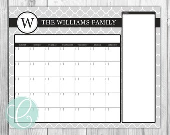 Calendar - Printable 16x20 Dry Erase Calendar Family Command Center Poster