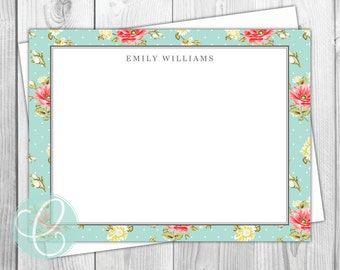 Shabby Chic Stationery - Flat Note Cards - Set of 12 - Girls Women - Personalized Thank You Cards - Floral Feminine Flowers Aqua Teal Bridal