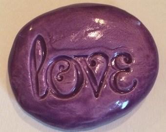 LOVE Pocket Stone - Ceramic -  AMETHYST Art Glaze - Inspirational Art Piece