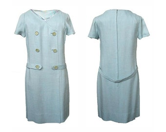 Vintage 1960s Dress Blue Linen Shift Button Detail Dropped Waist Belted