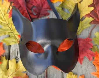 Leather Cat Mask.  Black Cat mask, Black leather cat, LARP, Masked ball, Cosplay, Fantasy,  Halloween, Cat costume, animal mask