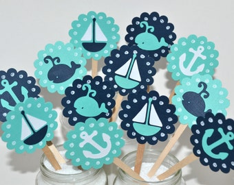 12 Nautical Cupcake Toppers / Sailboat Cupcake Toppers / Whale Party / Nautical Baby Shower / Ahoy Its A Boy / Whale Baby Shower / Anchors