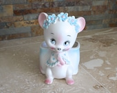 1950s Inarco mouse planter - baby mouse planter - mouse vase - new baby vase - porcelain mouse with blue flowers