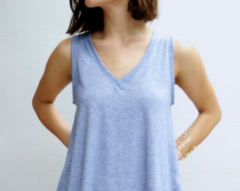 V-Neck Tank in Denim Chambray