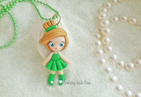LIMITED EDITION Tinkerbell Necklace, Princess, Polymer Clay Pendant, Necklace, Cosplay, polymer clay, clay pendant, Kawaii, doll, charm