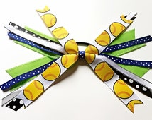 Custom Colors Softball Bow, Softball Hair Ties, Softball Hair Ribbons, Softball Hair Bow