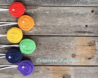 Set of 6 Rainbow Rosette Headbands- Baby Headbands- Girl Headbands- Rosette Headband- Baby Shower Gift- Rainbow Headbands