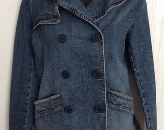 Retro 80s 90s Womens Denim Military Style Jean Jacket
