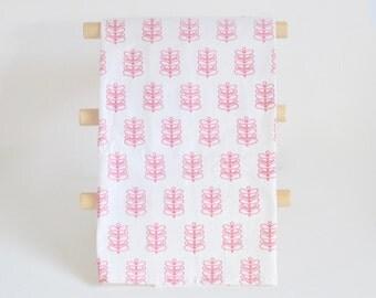 Flour Sack Tea Towel, Pink Stems, Vintage Pyrex Style Design, Fern Print