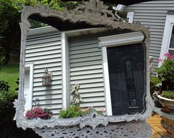 LARGE Vintage shabby chic shell motif mirror