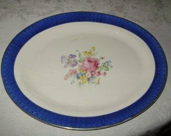 blue vintage oval platter