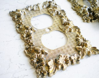 Vintage Brass Light Switch Plate Cover Light Cover French Chic Two Way Home Decor Photo Prop Wedding Hollywood Regency Price Per Plate