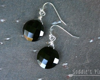 Black garnet, sterling silver, dangle earring