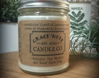 Lavender Soy Candle, Soy Wax Candle, Natural Soy Candle in our PEACEFUL Fragrance, Lavender Chamomile Soy Candle