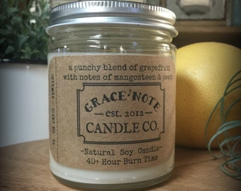 Soy Candle, Grapefruit Soy Wax Candle, Natural Soy Candle in our GETAWAY Fragrance , 2016 Candle Scent, Vintage Inspired Candle