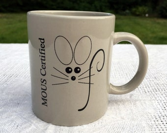 Computer MOUS Coffee Mug Microsoft Office User Specialist Nineties Grey with Mouse Drawing 13 oz  3.75 in tall Very Good Condition