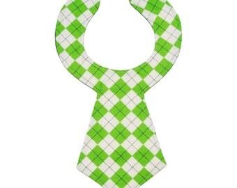 Green Argyle Baby Necktie Bib