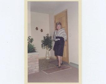 1967 Kodacolor: Woman in Fur Stole, Vintage Snapshot Photo (61450)