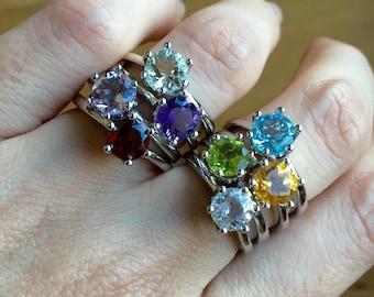 Gemstone Stack Rings- Birthstone Silver Rings- Children Birthstone Stack Ring- Stackable Birthstone Ring- Mothers Ring- Birthstone Ring