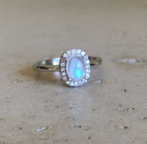Small Moonstone Promise Ring Halo Oval Engagement Ring