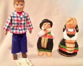 Vintage 1970s Hand Carved Dolls from Norway & Germany