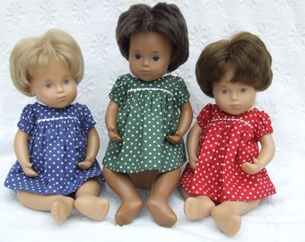 Short Sleeved Classic Polka Dots Dress or Romper Outfit for Sasha doll Girl, Toddler or Baby.