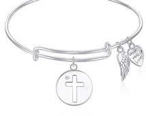 Expandable Wire Bangle Bracelet with CROSS Charm with Crystal and Angel Wings Charm Gift Boxed