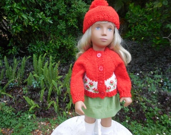 """Hand knitted red sweater outfit made to fit Sasha and similar 16"""" dolls."""