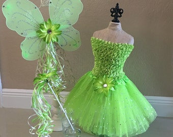 Fairy Costume, Tinkerbell Tutu, Tinkerbell Costume, Green Fairy Wings, Tinkerbell Dress, Tinkerbell Party, Tinkerbell Party Favors, Fairy