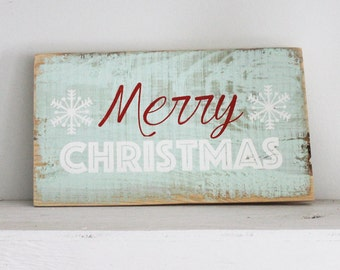 Merry Christmas Wood Sign Holiday Decor Happy Holidays Rustic Old fashioned Vintage Farmhouse