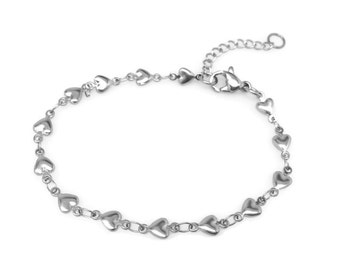 Silver Heart Bracelet, Stainless Steel, Bridesmaid Gift, Hypoallergenic Jewelry, Push Present
