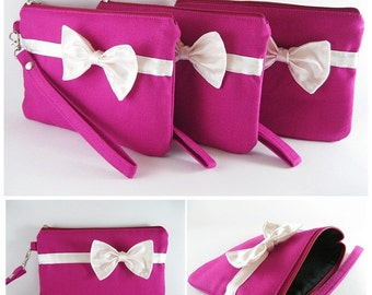 SUPER SALE - Set of 6 Fuchsia with Little Ivory Bow Clutches - Bridal Clutches,Bridesmaid Wristlet,Wedding Gift,Zipper Pouch - Made To Order