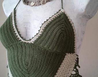 Khaki and beige Crochet top-Gothic summer top,Crochet Hippie Fringe-Hippie Fringe Halter Top-little longer-Tender tank top-Beautiful design
