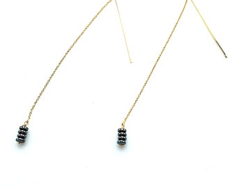 Hematite Threaded Earrings, Vermeil, Gold