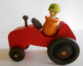 Wood red tractor toy with removable farmer peg doll person toddler toy waldorf pretend play