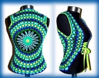 Crochet BOLERO * FloWer & CirCleS * XS-M * VEST, Cardigan