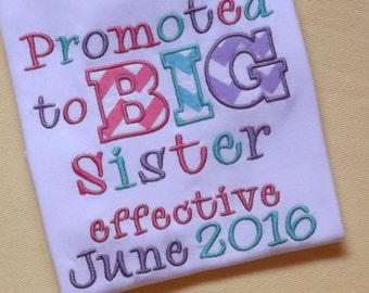 Promoted to Big Sister T-Shirt or Bodysuit