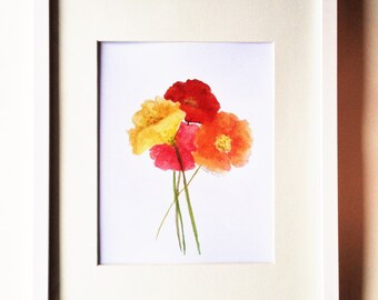 Multicolored Poppies Watercolor Print